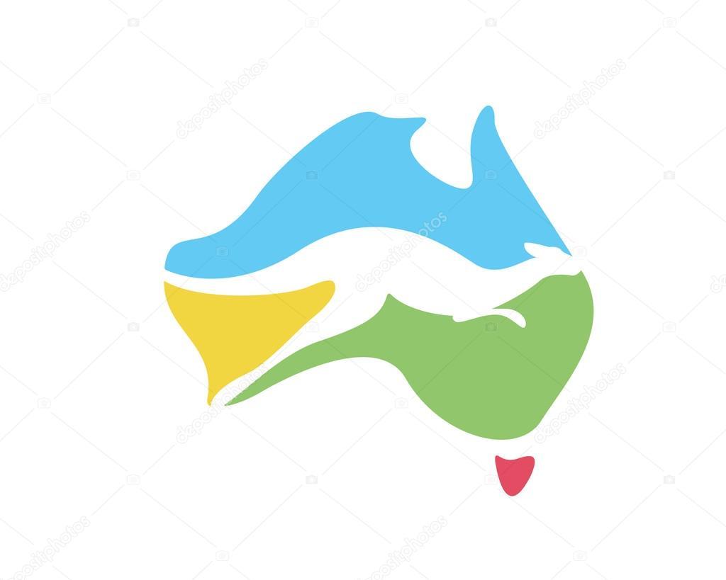 Modern Australia Logo Colorful Australia Map With Kangaroo - Australia map kangaroo