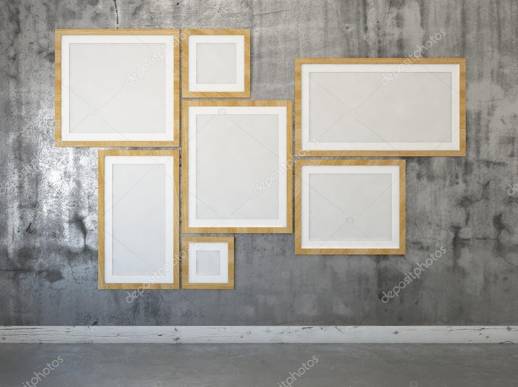 Unos carteles en los marcos en la pared. Mock up. 3D render — Fotos ...