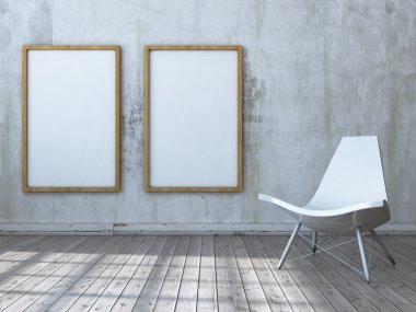 mock up poster frames in interior background with chair. 3d illustration