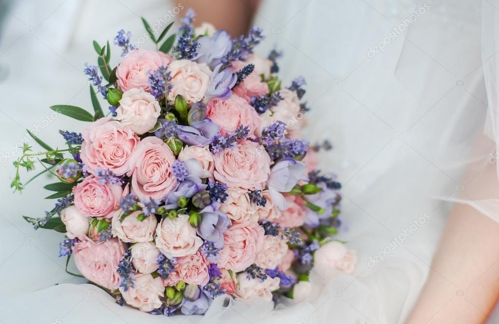 Lavender And Peony Bouquet Wedding Bouquet Of Lavender Roses And Peonies Stock Photo C Mairy 87965282