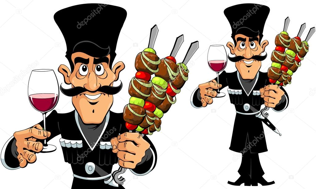 Caucasian Man with Barbecue and Wine