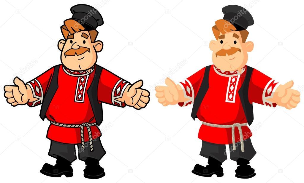 民族衣装のロシア人男性挨拶のジェスチャー ストックベクター