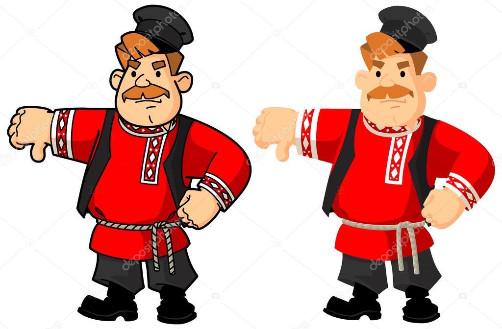 民族衣装のロシア人男性不満のジェスチャー ストックベクター