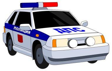 Russian police patrol car with flashing lights