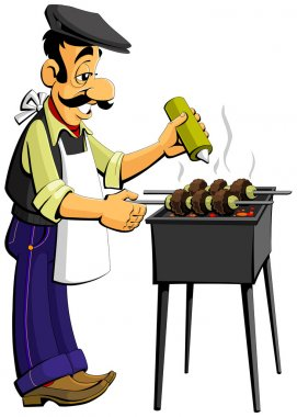 Caucasian man prepares kebabs on the grill