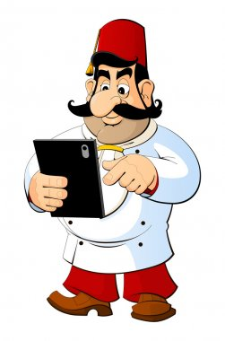 Cartoon Turkey cook with a tablet computer.