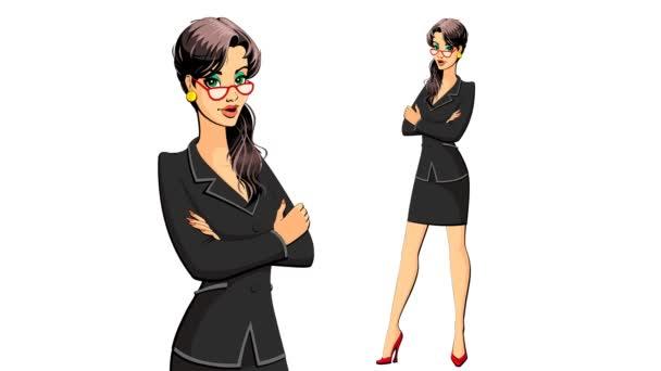 Woman presenter, guide . Cartoon constructor. Loop. Alpha channel.
