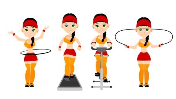 das Mädchen treibt Sport in der Turnhalle -cartoon - alpha channel - alpha matte