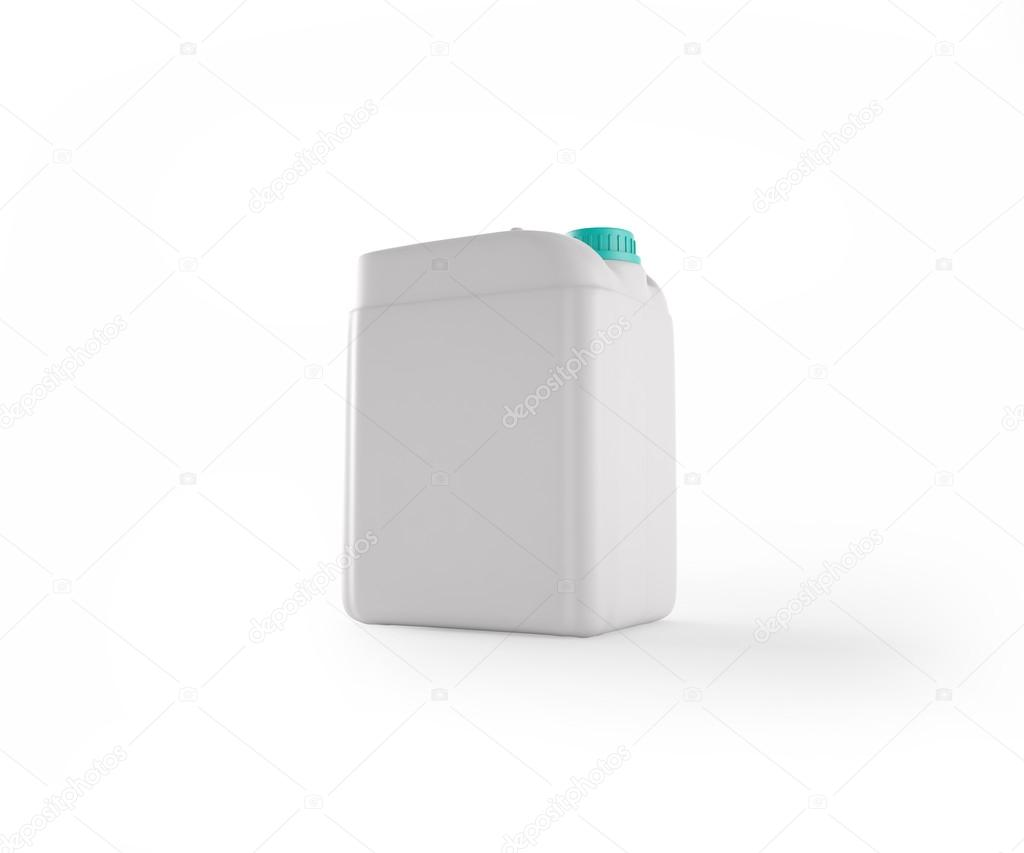 3d illustration of white plastic jerrycan (includes clipping path)