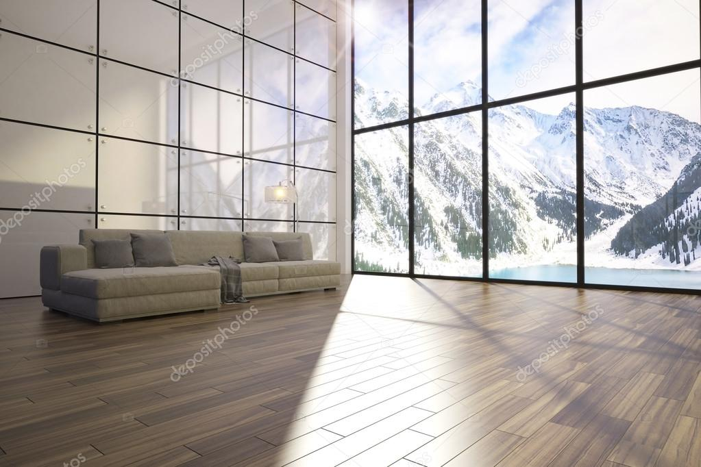 3d illustration of comfortable contemporary interior with amazing evening scenery view of mountains