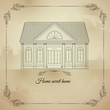 Vector retro illustration Home Sweet with old house.