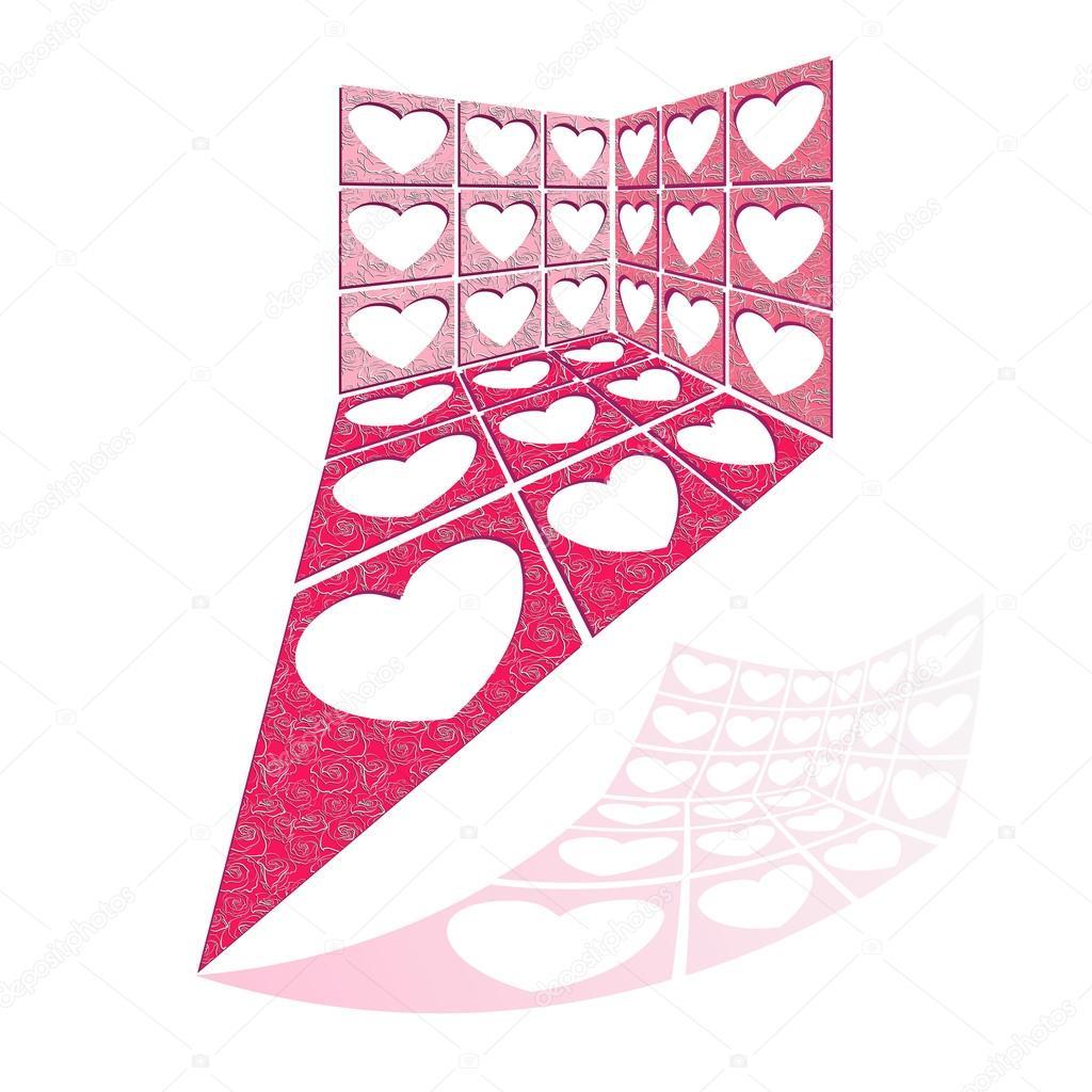 Vektor-Illustration mit Struktur des Herz-Löcher — Stockvektor ...