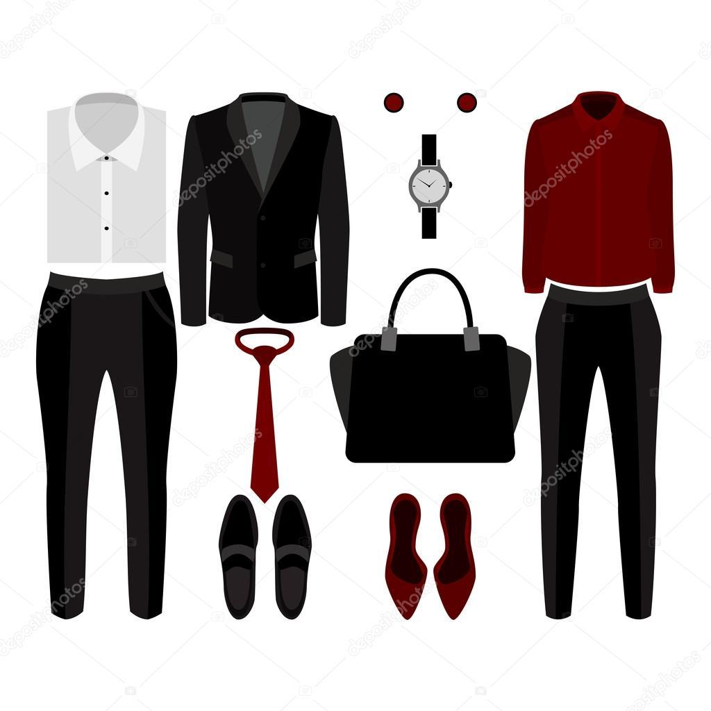 Trendy Kleding.Set Van Trendy Kleding Outfit Van Man En Vrouw Kleding En