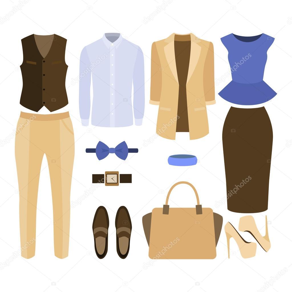 Sada módní oblečení. Oblek muže a ženy oblečení a doplňky — Stock ... ae656879ba