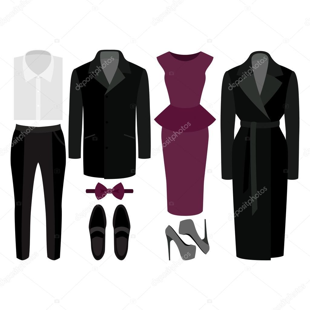 f5bcde2bb Conjunto de ropa de moda. Traje de hombre y mujer ropa y accesorios–  ilustración de stock