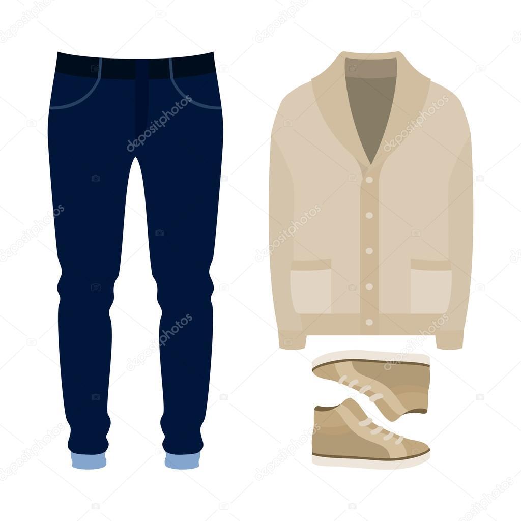 d4953e6bf2 Conjunto de roupas da moda masculina. Roupa de homem casaco