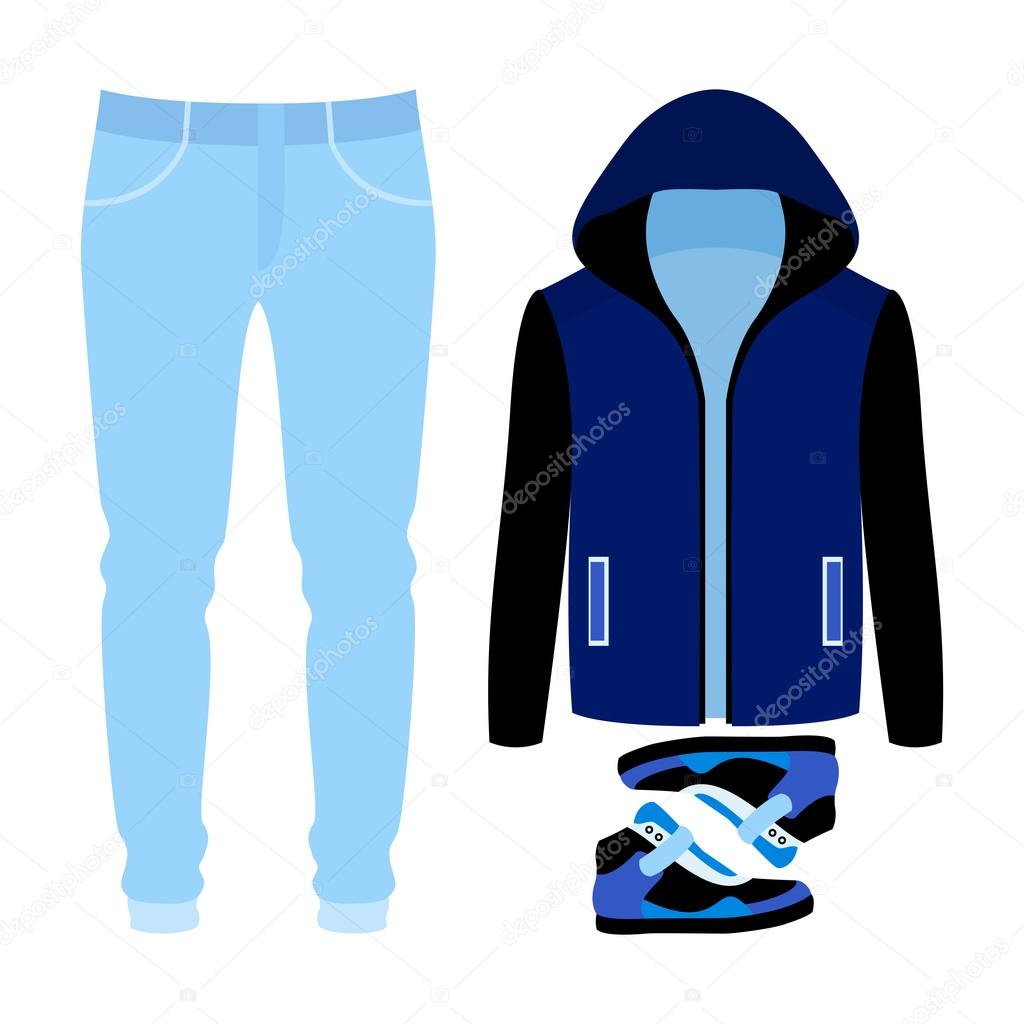 9538e94202b9e5d Набор модной мужской одежды. Костюм человек пиджак, брюки и кроссовки.  Мужской гардероб– Векторная картинка