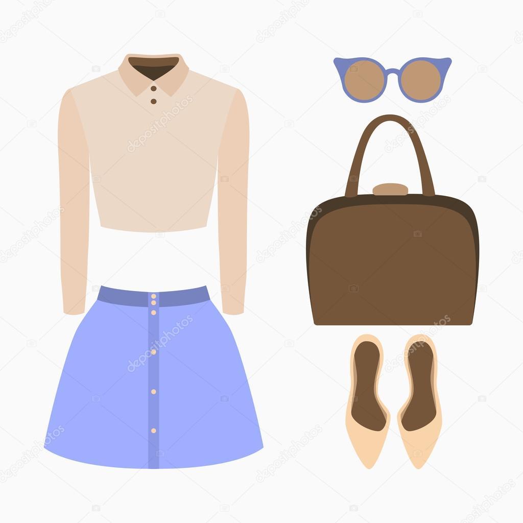 737e0c7c7 Conjunto de roupas femininas da moda. Roupa de mulher saia