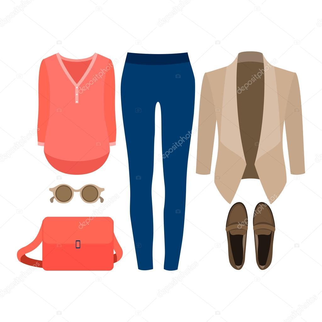 Divatos női ruhák halmaza. Ruhát a nő kabát 6bc7e8f7dd