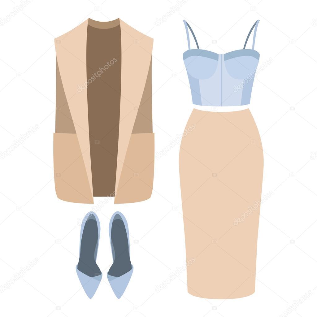 b9abd9bef Conjunto de roupas femininas da moda. Roupa de mulher vestcoat