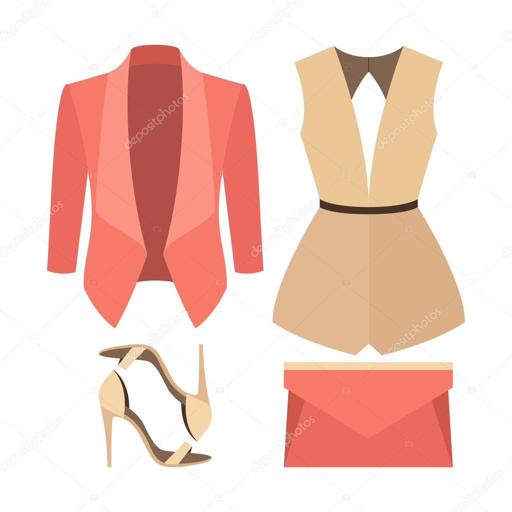 1b5cd7154f812 Set of trendy women's clothes. Outfit of woman jacket, overall and  accessories. Women's