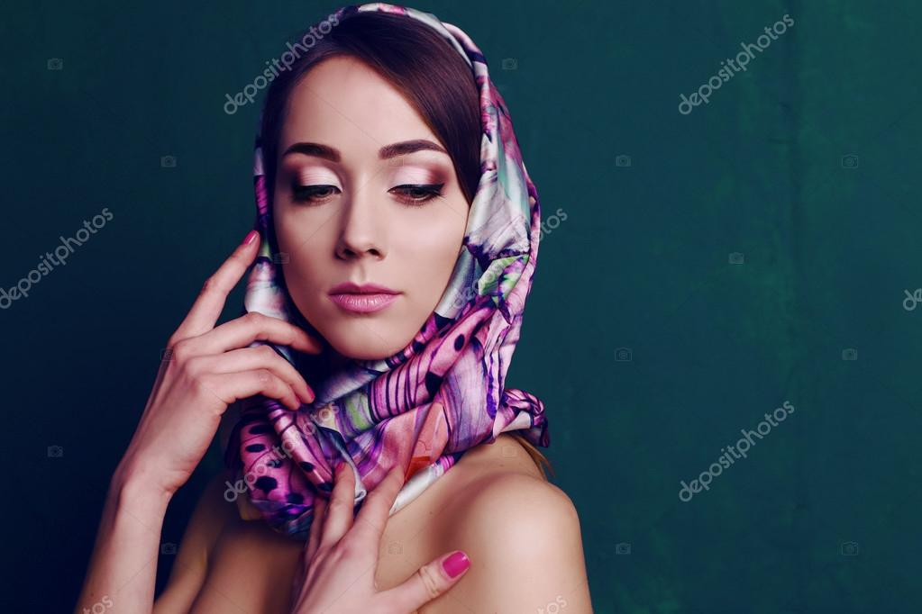 gorgeous woman in retro style, with elegant silk scarf