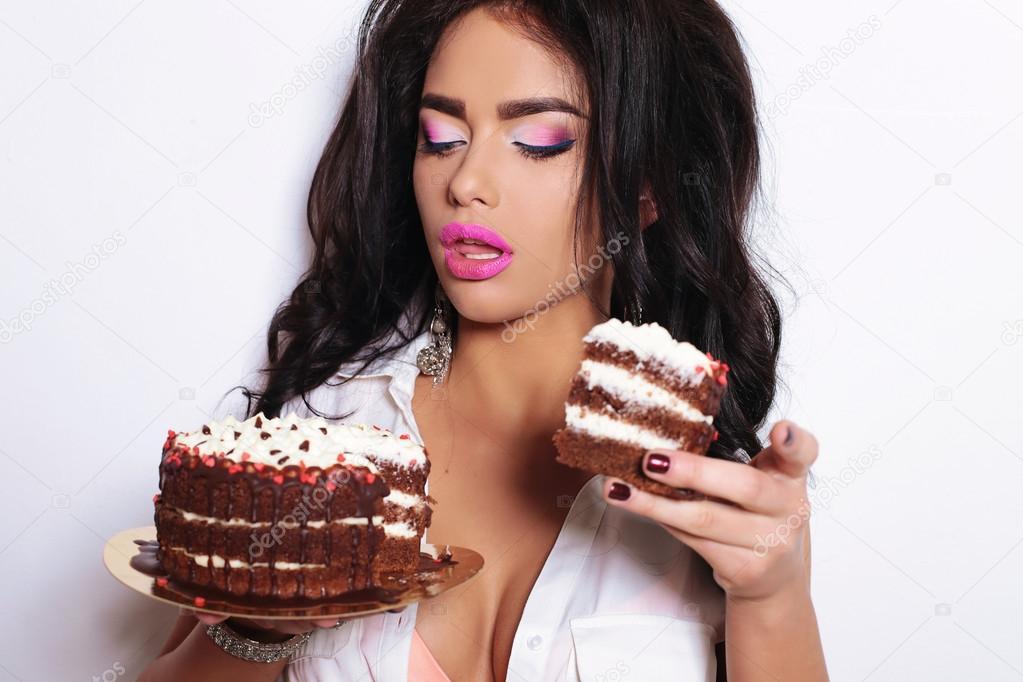 naked girls holding cake