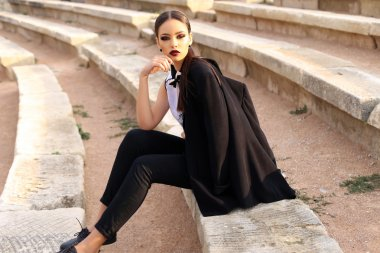 sexy elegant woman with dark hair