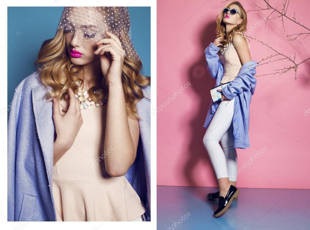 Gorgeous   woman in elegant blue coat