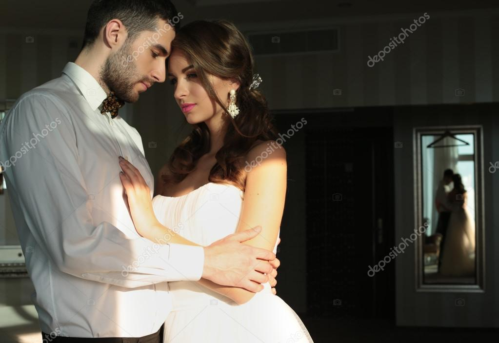 beautiful couple, groom and bride wear wedding clothes