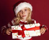 Fényképek Aranyos kislány Santa kalap