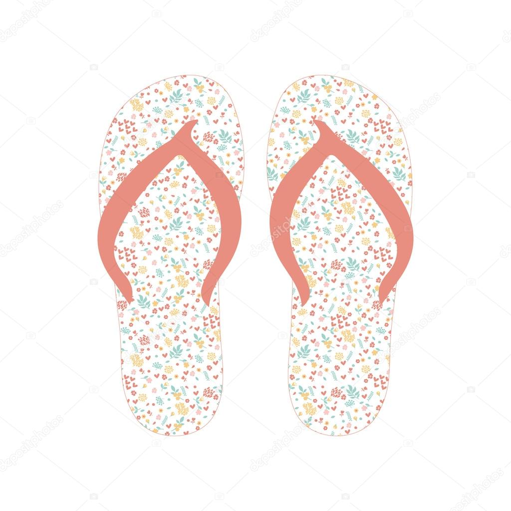 26fa6d798 Flip flops, Slippers with floral pattern — Stock Vector ...