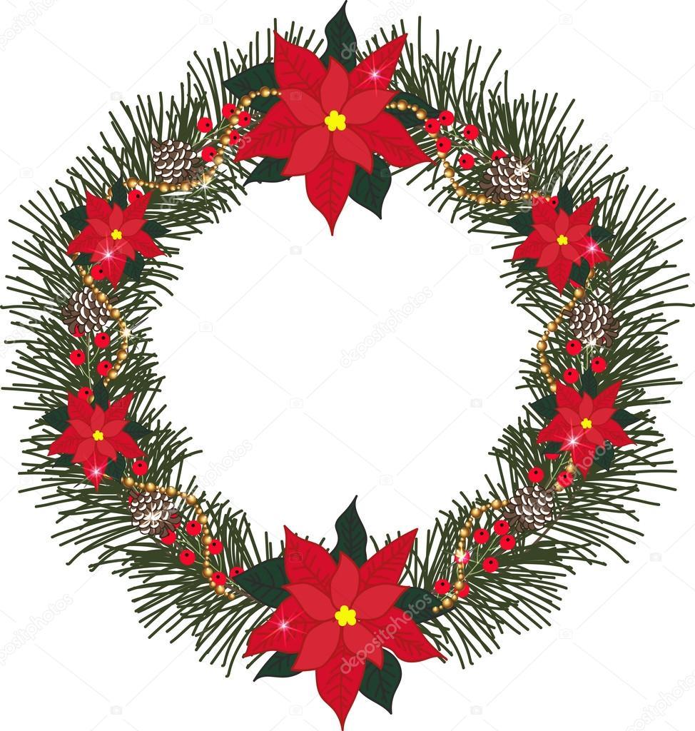 Stella Di Natale Con Perline.Corona Di Abete Rosso Con Stella Di Natale Fiori Pigne Bacche