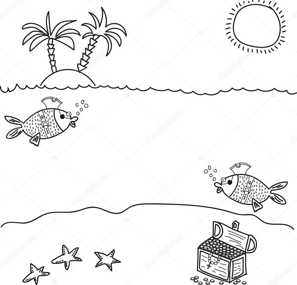 sob a água encontra se um baú de tesouro peixe piratas imagens