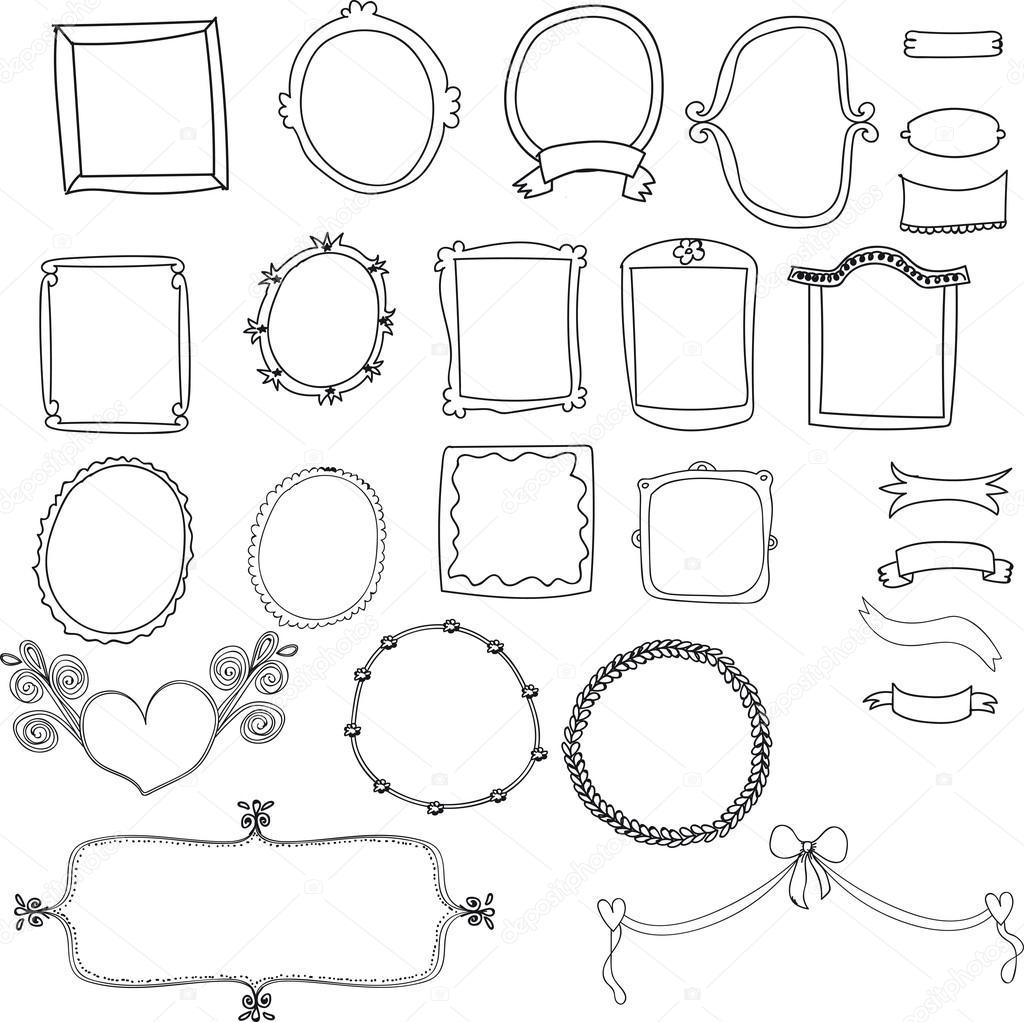 etiqueta Vintage conjunto, garabatos dibujados a mano y elementos de ...