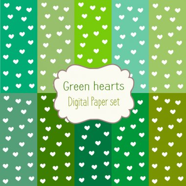 10 Digital Papers green and mint hearts Mixed Patterns Patterned Backgrounds, digital paper set
