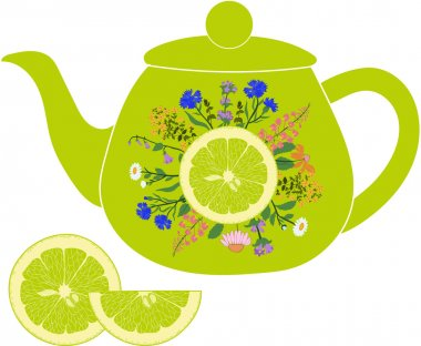 Lime teapot with herbs and lime