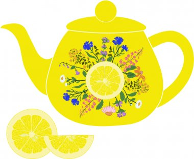 Lemon teapot with herbs and lemon