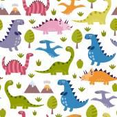 Fotografie Cute dinosaurs seamless pattern
