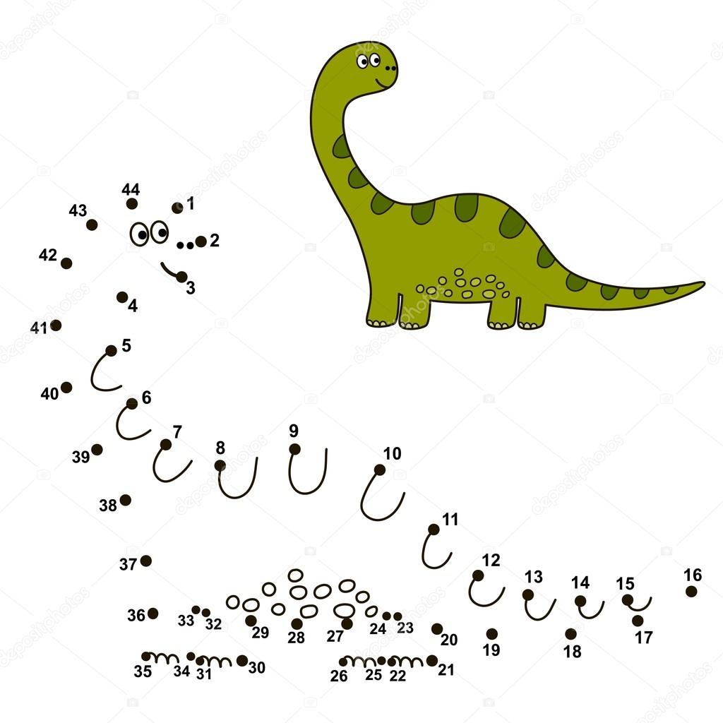 Conectar los puntos para dibujar un dinosaurio lindo y el color que ...