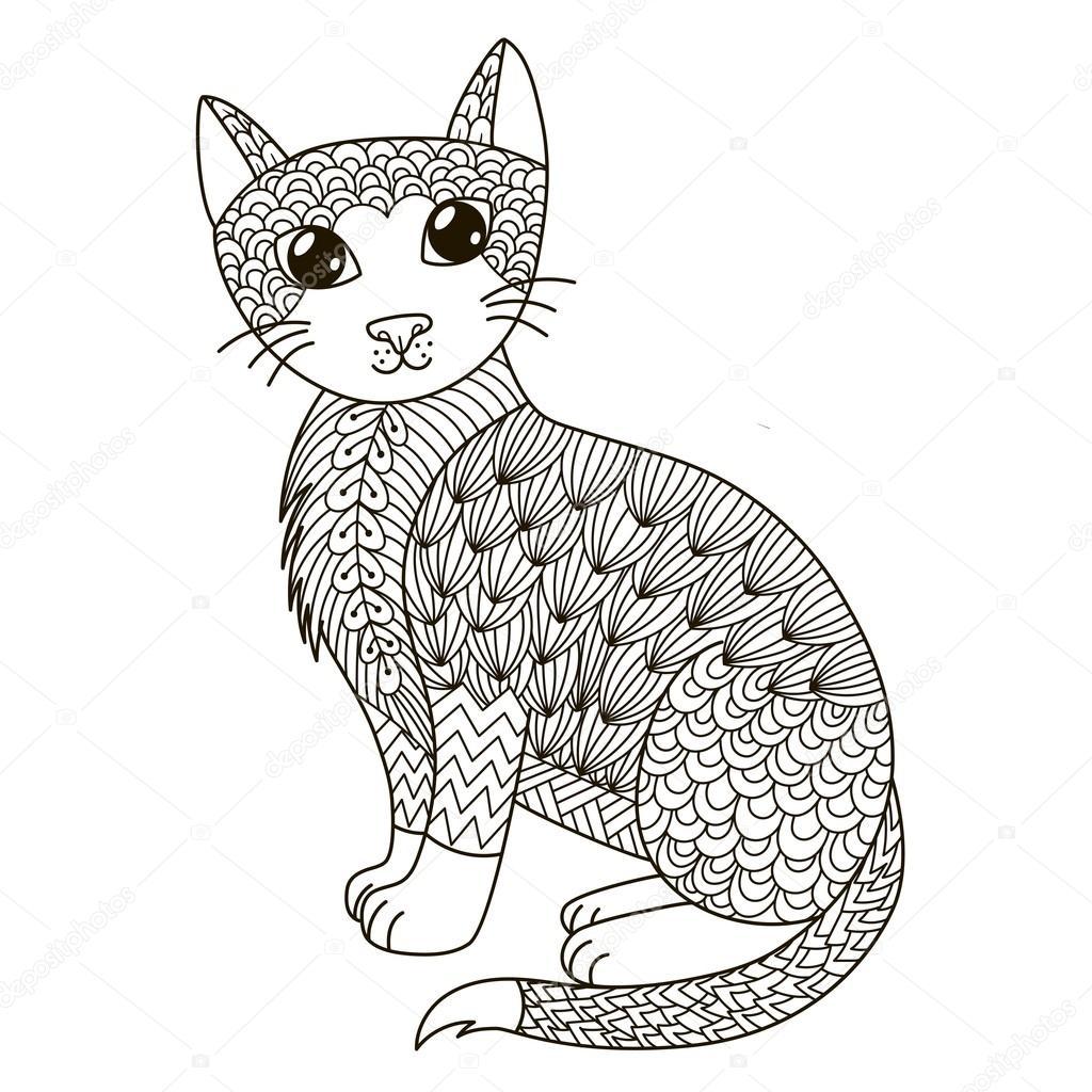 Zentangle Kedi Boyama Sayfası Gömlek Tasarım Logo Dövme Ve