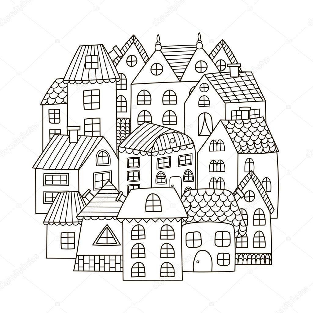 Patrón de forma de círculo con casas para colorear libro — Vector de ...