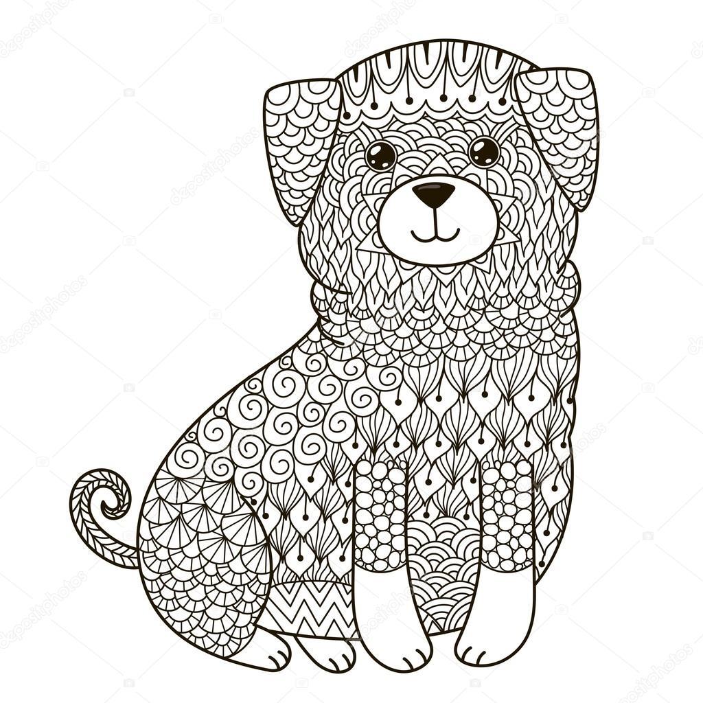 Zentangle Köpek Boyama Sayfası Gömlek Tasarım Logo Dövme Ve