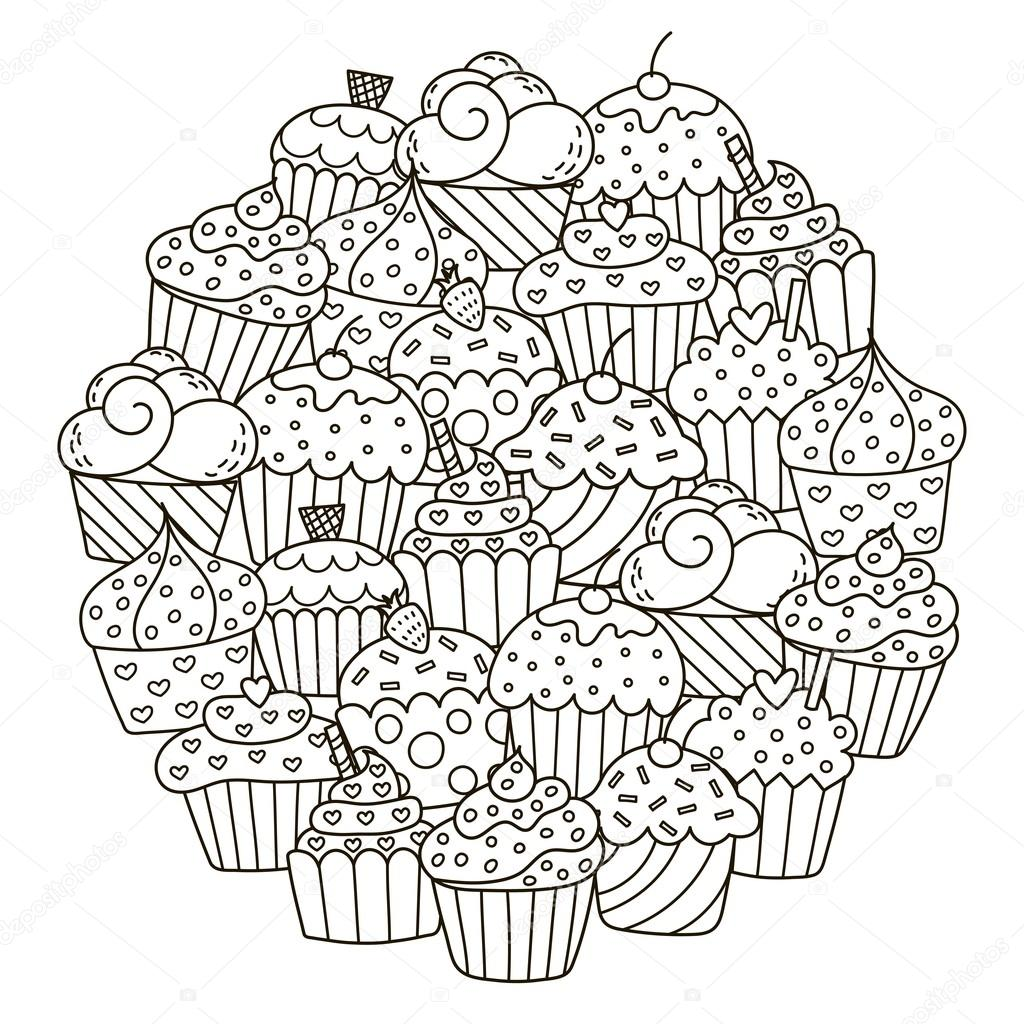 Motif De Forme De Cercle Avec Des Mignons Petits Gâteaux