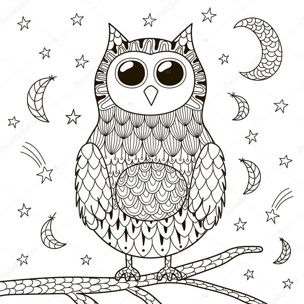 Sevimli Zentangle Baykuş Boyama Kitabı Için Geceleri Stok Vektör