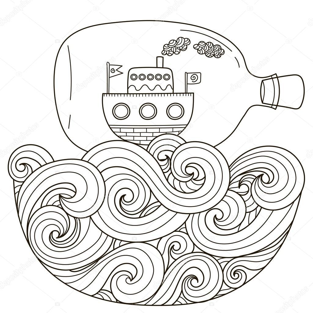 Sayfa Boyama Için Dalgalı Denizde Yüzen şişe Içinde Gemi Stok