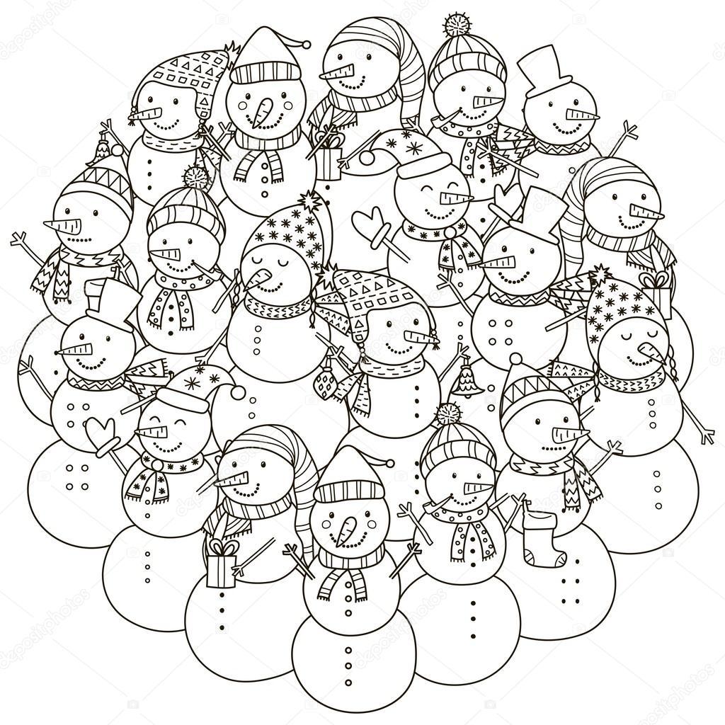 Patrón de forma de círculo con lindos muñecos de nieve para colorear ...