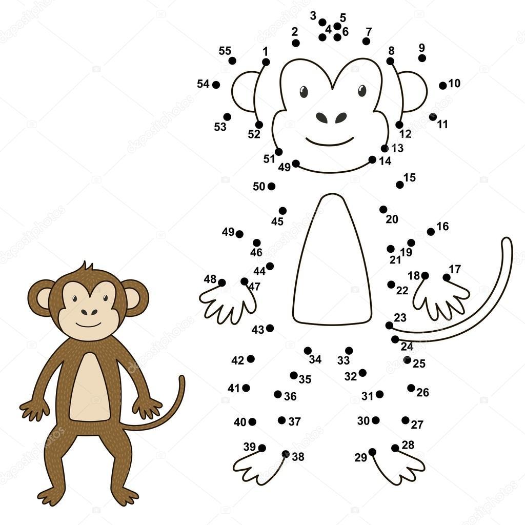 Conectar los puntos para dibujar el Mono lindo y el color que ...
