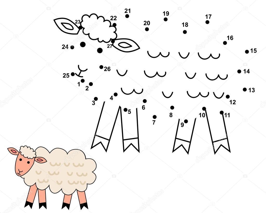 Relier Les Points Pour Dessiner Le Mouton Mignon