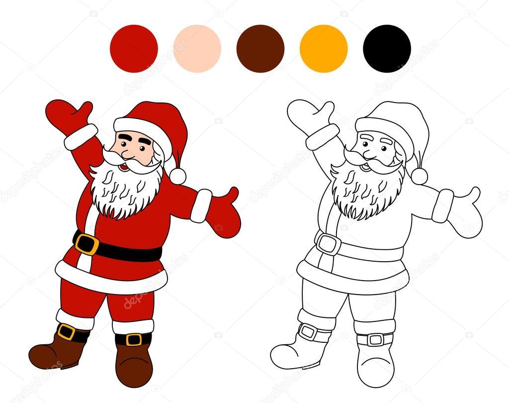 Libro Para Colorear Papá Noel Tema De Navidad Para Niños Vector